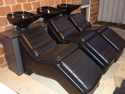 3 Hairdressing basins and chairs